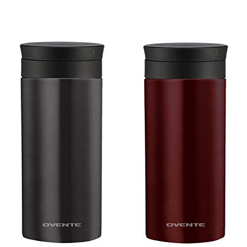 (Ovente Travel Mug with Flavor Infuser, Hot/Cool Thermos, Vacuum Insulated, Stainless Steel, Nickel Brushed, 12 oz, Gunmetal and Wine Red (2-pack))