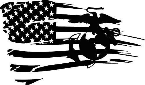 (Wall Decal Distressed Flag Marine Corps Oorah Semper Fi Jeep JL JKU JK Window Decal Sticker)