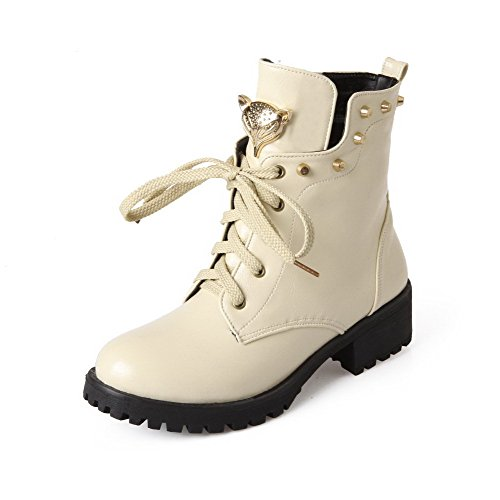 Allhqfashion Women's Low-top Solid Lace-up Closed Round Toe Low-Heels Boots Beige