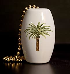 Tropical Palm Tree Porcelain Fan / Light Pull