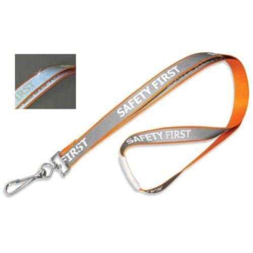 (Orange Reflective Lanyard with Safety First Imprint and Nickel-Plated Steel Swivel Hook - 100pk)