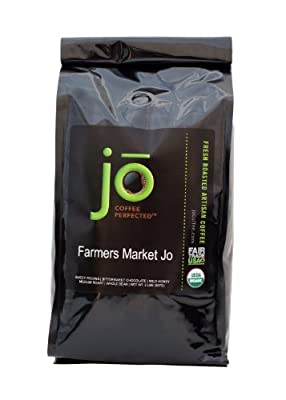 FARMERS MARKET JO: 2 lb, Light Medium Roast, Whole Bean Arabica Coffee, USDA Certified Organic, NON-GMO, Fair Trade Certified, Gourmet Coffee from the Jo Coffee Collection