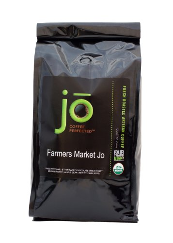 FARMERS MARKET JO: 2 lb, Upbraid Medium Roast, Whole Bean Arabica Coffee, USDA Certified Organic, NON-GMO, Fair Trade Certified, Gourmet Coffee from the Jo Coffee Collection