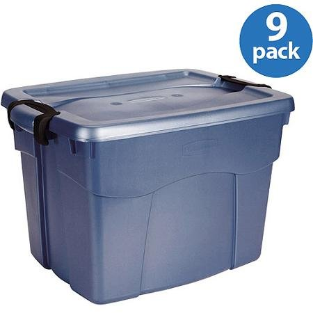 Rubbermaid 22-Gallon Roughneck Latching Tote, Blue, Set of 9