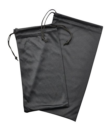 2 Pack Soft Microfiber Eyeglass Case, Cleaning And Storage Pouch With Drawstring, Large And Small, Black
