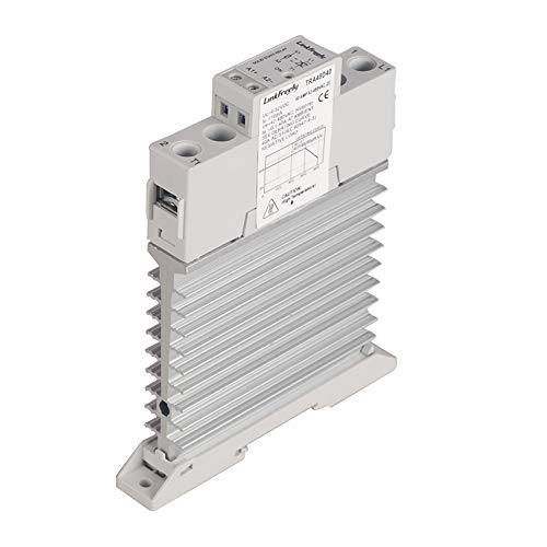 TRA48 Series Heat Sink/Radiator SSR Solid State Relay Din Rail DC to AC Input 4-32VDC Output 42-480VAC 10A 25A 40A 60A 80A, Electric Voltage Control Relay Switch Unit (40A/M)