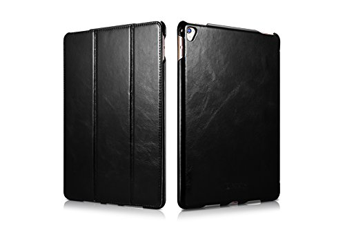 iPad Pro 9.7 Leather Case, Icarer Vintage Genuine Leather Side Open Flip Folio Style Smart Cover in Ultra Slim Design with Stand & Auto Wake/Sleep Functions for 9.7 Inch iPad Pro (Black) by ICARER