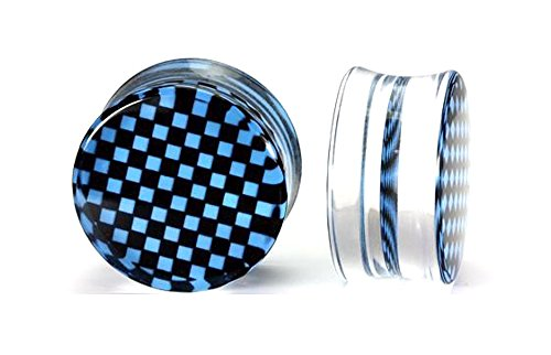 Painful Pleasures 4g up to 26mm CHECKERBOARD Blue/Black Double Flare Plugs - Price Per 1-26mm ~ - Checkerboard Mm 26
