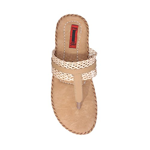 41DI%2BT0zhzL. SS500  - 1 Walk Comfortable Synthetic Leather Doctor Sole Women's Flats - Beige