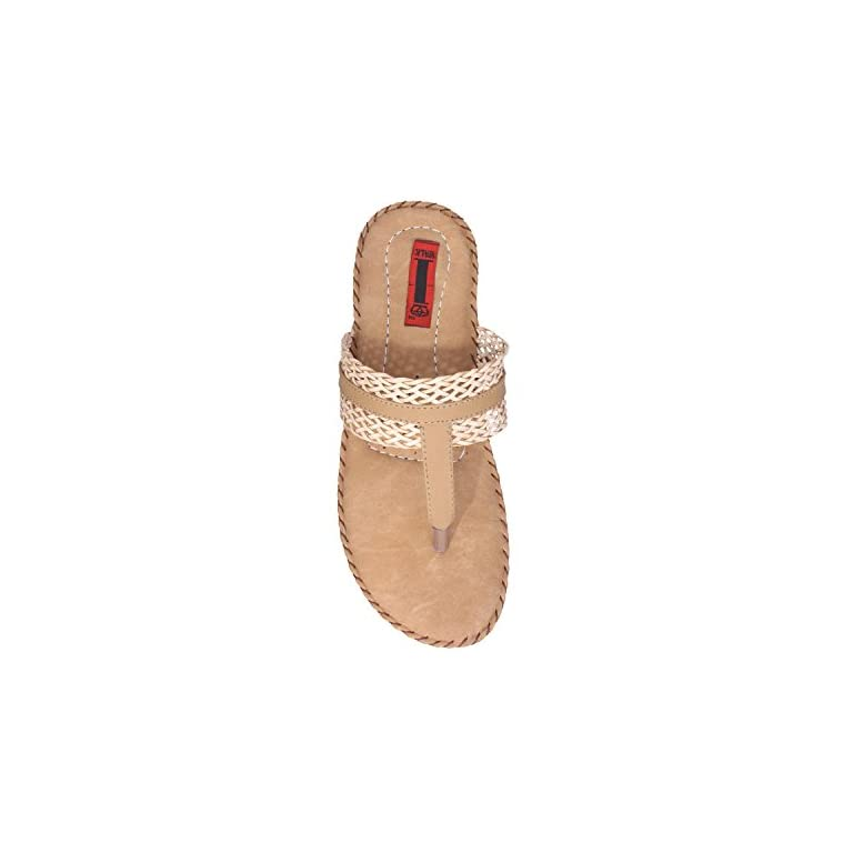 41DI%2BT0zhzL. SS768  - 1 Walk Comfortable Synthetic Leather Doctor Sole Women's Flats - Beige