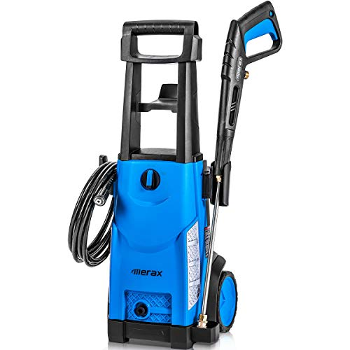 Merax 1800PSI 1.3GPM Electric Pressure Washer, Compact Power Washer with Metal Spray Wand, 20-Foot Hose and Removable Detergent Tank