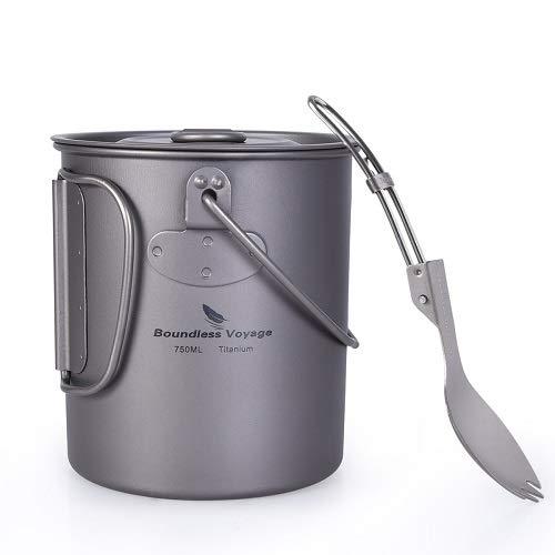 Boundless Voyage Outdoor Titanium Pot Cup Mug with Lid Storage Bag Pot Set Collapsible Folding Handle Camping Hiking…