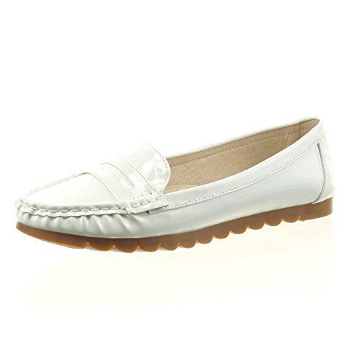Sopily - Zapatillas de Moda Bailarinas Tobillo mujer patentes Talón Tacón ancho 1 CM - Blanco