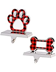 GUDELAK Christmas Stocking Holder Stand Set of 2, Silver Dog Bone Stocking Hanger and Paw Print Stocking Holders for Fireplace Mantle, Dog Stocking Holder for Family Party Christmas Decorations
