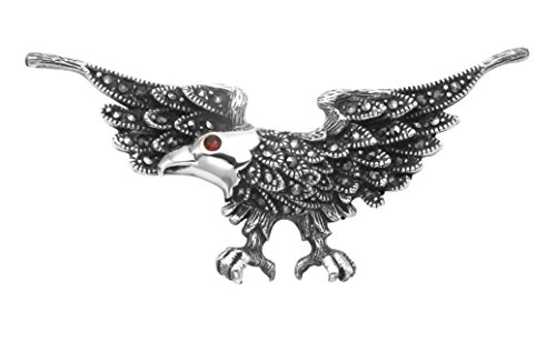 Wild Things Sterling Silver & Marcasite Eagle in Flight Pin