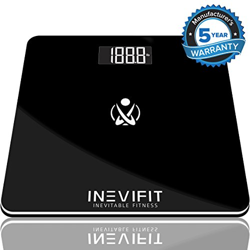 INEVIFIT BATHROOM SCALE, Highly Accurate Digital Bathroom Body Scale, Measures Weight for Multiple Users. Includes a 5-Year - Men Glasses With Fat