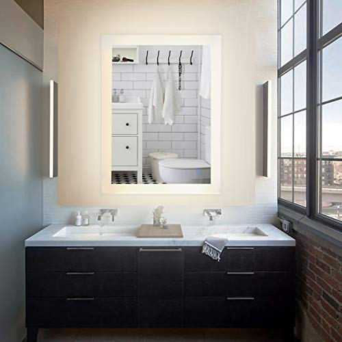 CO-Z LED Lighted Bathroom Wall Mounted Mirrorr, Plug-in Modern Rectangle LED Lighted -