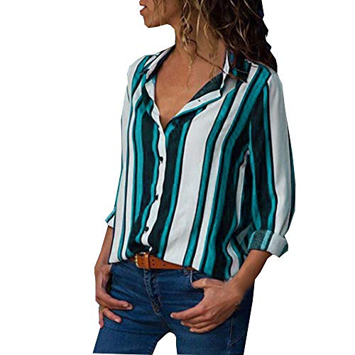 ZEFOTIM Clearance Sale Women Casual Cuffed Long Sleeve V-Neck Button Up Striped Shirt Blouse Tops (US-10/CN-M,Green) -