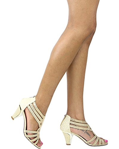 Shine First Womens Sight Sight Zipper Gold Heel First Back R66wgnIq
