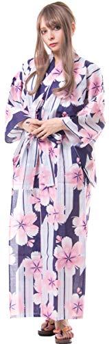 Kimura Jitsugyo Women's Kyoto Traditional Easy Wearing Kawaii Yukata Robe(Japanese Casual Kimono) Japanese Cherry Blossoms Set 2 Medium Woman ()