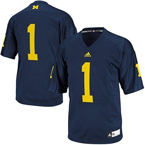 1 Premier Football Jersey - Adidas NCAA Michigan Wolverines #1 Youth Premier Football Jersey - Navy - Youth Medium