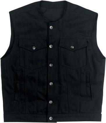 Biltwell Inc. Prime Cut Vest without Collar , Gender: Mens/Unisex, Primary Color: Black, Size: XL, Distinct Name: Black Denim DV-BLK-DN-XLG