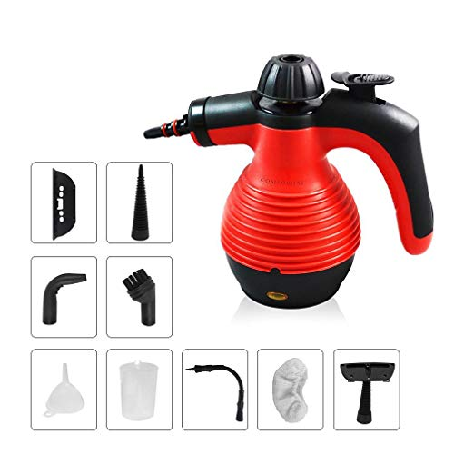 (Comforday Multi-Purpose Handheld Pressurized Steam Cleaner with 9-Piece Accessories for Stain Removal, Carpets, Curtains, Car Seats, Kitchen Surface & Much More (red))