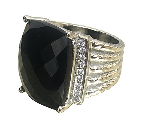 Gempara Designer Inspired Twisted Cable 20x16mm Black Onyx Checkerboard Cushion Ring Size 7, 9 (10)