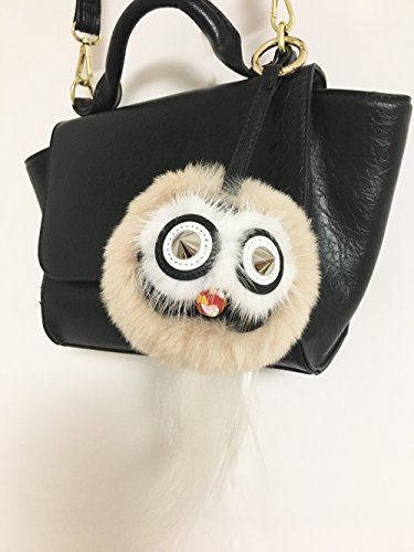 (Black Owl with tail Fur Halloween Monster Bugs Pom Pom Plush Doll Key Ring/ Keychain /Bag Charm (Apricot) )