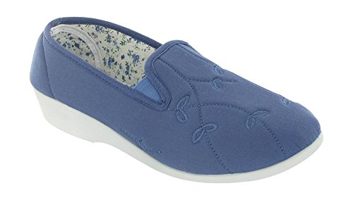 Mirak Bessie twin gusset canvas slip-on Blue Size 8