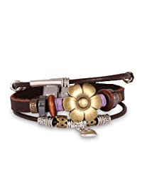 Fashion Plaza Christmas Gift Leather Bracelet with Sunflower and Beaded Charm -19mm L104
