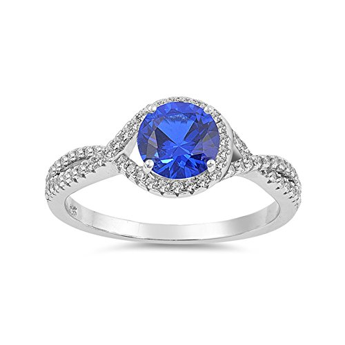 .925 Sterling Silver Prong September Birthstone CZ Intertwined Bridal Ring ()
