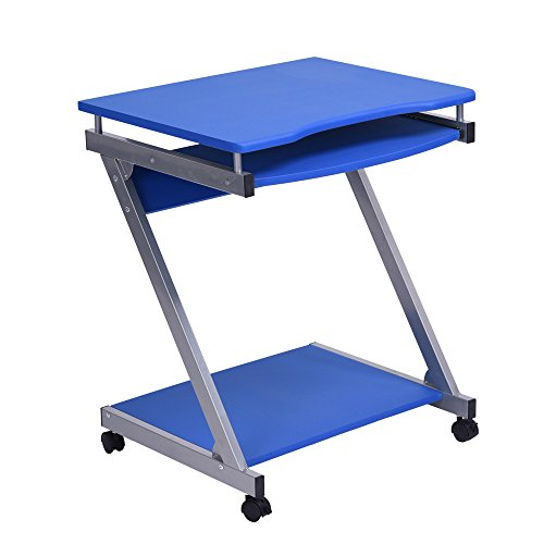 Sanfurney Mobile Computer Desk with Wheels Small Rolling Workstation Laptop Stand with Pull Out Keyboard Tray and Bottom Shelf for Small Space, Blue