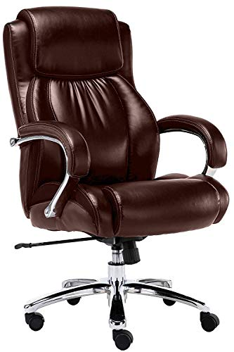 Big and Tall 500 pounds body weight support, Executive brown office chair, Heavy duty shiny bonded leather, Swivel and tilt, Chrome arms with extra thick padding, height adjustment.