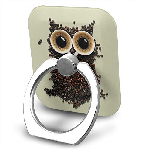 Happy Index Coffee Cute owl Wallpapers 360° Rotation Cell Phone Ring Holder Cellphone Finger Stand for iPhone, IPad, Samsung Galaxy S9/S8 and More Smartphones ()