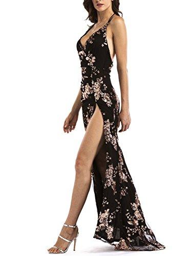 Glamaker Womens Cocktail High Split V Neck Sequins Dress Maxi Backless Dress Halter Black  Large -