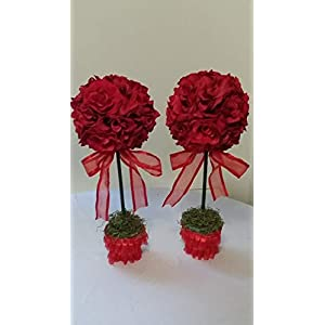 Red Roses, Topiary Centerpieces, Table Flowers 7