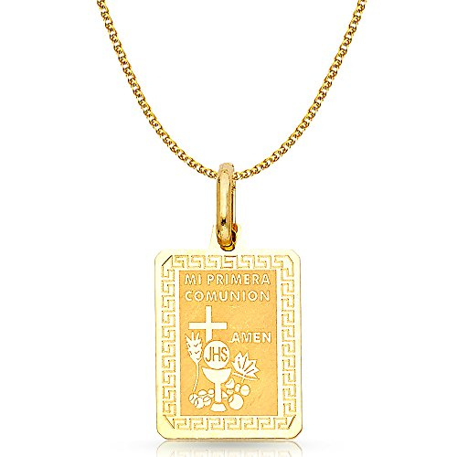 14K Yellow Gold Communion Charm Pendant with 1.7mm Flat Open Wheat Chain Necklace - 16