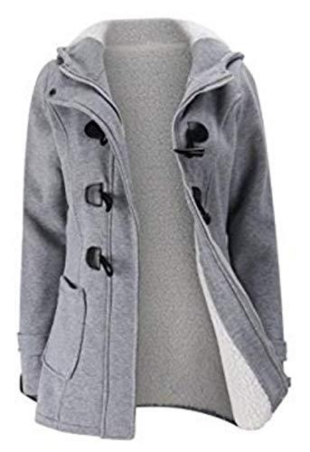 Coat Elgante Femme Warm Coat Vintage Veste Hiver Hiver paissir Slim Capuchon Duffle Longues Manches Fit Hellgrau Loisir Outerwear Manteau F18qx1Bw