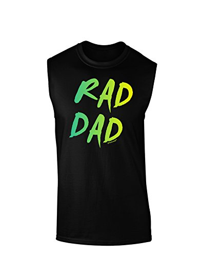 TooLoud Rad Dad Design - 80s Neon Dark Muscle Shirt - Black - Small (80s Outfits For Sale)