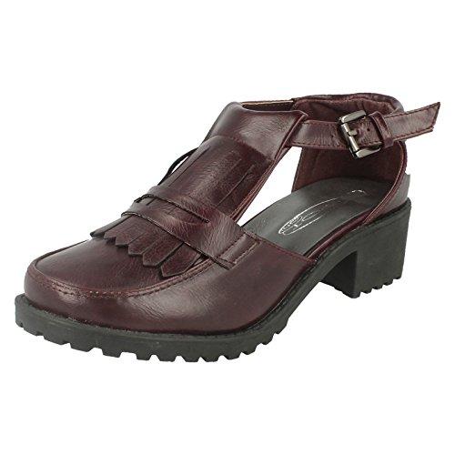 Damen Spot On, Slipper inspiriert Schuhe Burgunderrot