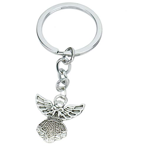 JETEHO 20 pcs Silver Tone Guardian Angel Charm Keychain Key Ring