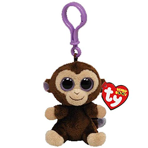 Big Eyes Plush Keychain Toy Doll Fox Owl Dog Unicorn Penguin Giraffe Leopard Monkey Dragon with Tag 4[ 10cm] (Brown Monkey K) ()