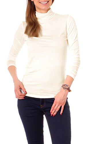 Damen Basic Langarm Shirt mit Rollkragen uni onesize - creme