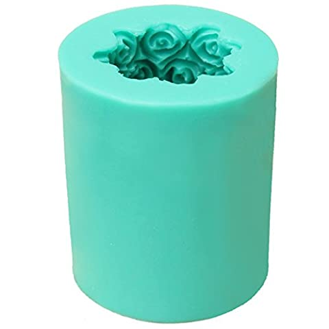 TOOGOO(R) Silicone Rose Flower Candle Soap Making Mould Cylinder Wedding DIY Craft Decor - Flower Silicone Candle