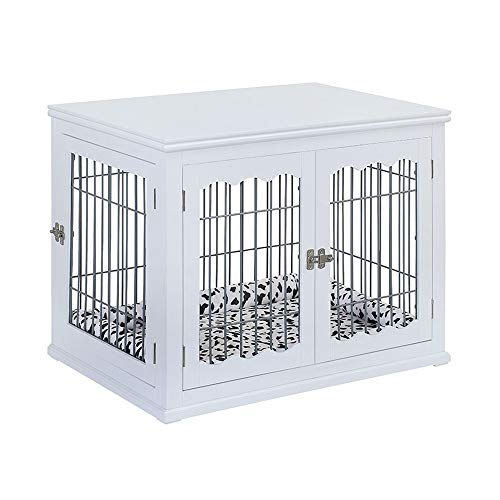 - unipaws Pet Crate End Table with Pet Bed, Wooden Wire Dog Kennels with Double Doors, Modern Design Dog House Indoor Use, White