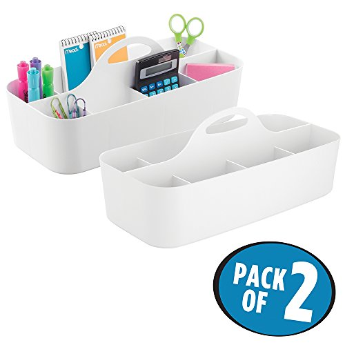 mDesign Large Office Caddy Storage Container & Organizer Tote with built-in Handle for Gel Pens, Pencils, Markers, Erasers, Staplers - Pack of 2, White