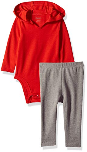 Hanes Ultimate Baby Flexy 2 Piece Set (Pant with Hoodie Bodysuit), Red/Grey, 18-24 Months ()