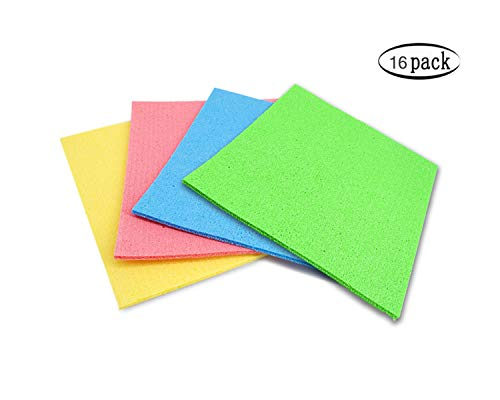 CLEAN LEADER Swedish Dishcloths,Cellulose Sponge Cloths,Eco-Friendly Cleaning Cloths, 6 inches x 7 inches 4 Colors - 16 Pieces ()