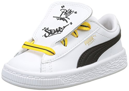 puma puma gelb Blanc Enfant Minions Inf Weiß White Basses Basket Yellow Mixte Black Puma minion Tongue Sneakers wzOWpxPxSq